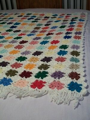 Handmade Crochet Afghan Throw 53x52 White Colorful Granny Square #1322