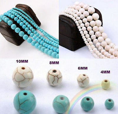 Natural Round Turquoise Spacer Loose Beads Charms 4 6 8 10  mm