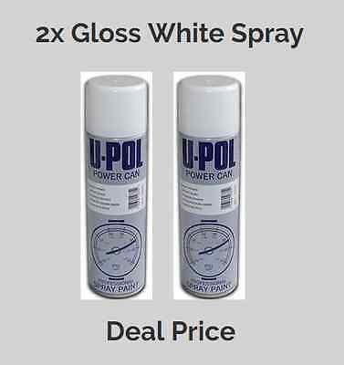 2x Upol Powercan Professional Gloss White Aerosol Spray (500ml) DEAL PRICE