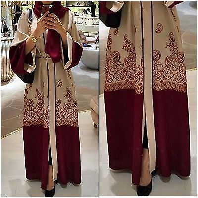 EMBROIDERED VINTAGE Dubai Style JACKET Abaya Maxi Dress Farasha Modest Wear