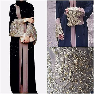 WEDDING PEARLISED BELTED Dubai Style JACKET Abaya Maxi Dress Farasha Modest Wear