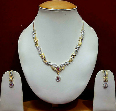 AD Ruby Necklace Set Indian Bollywood Gold Earrings Costume Jewellery Sets ADn39