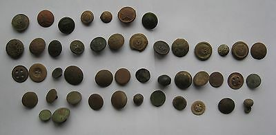 WW1 German and Russin Original Metal  Buttons of 46 pieces.