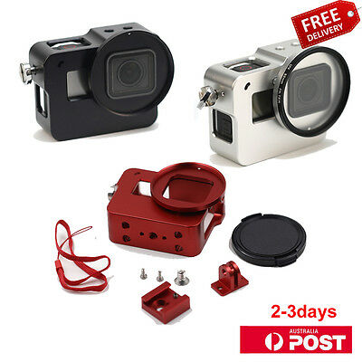 Gopro Hero 5  Aluminum Alloy Protective Frame Case+Lens Cover+52mm UV Filter AU