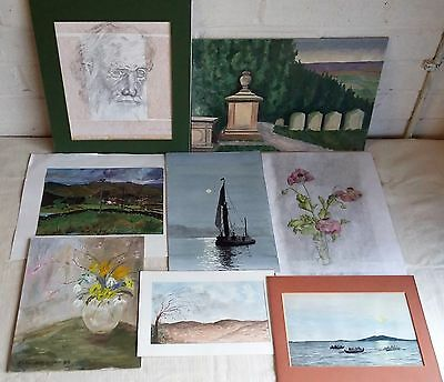Collection Of 8X Vintage Original Paintings & Drawings, Some Signed & Mounted
