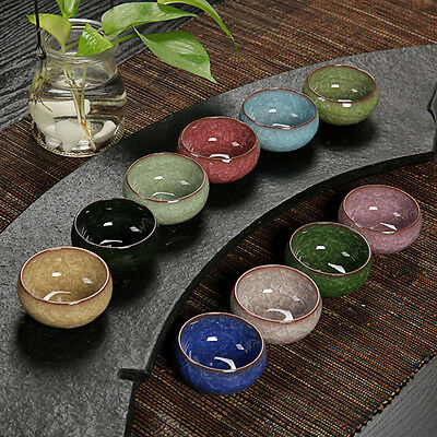 3 Color Kung Fu Tea Cup Ice Cracked Glazed Ceramic Tea Cup NEW
