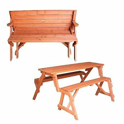 Picnic Table Bench 2 in 1 Garden wooden Folding Outdoor with Parasol Hole