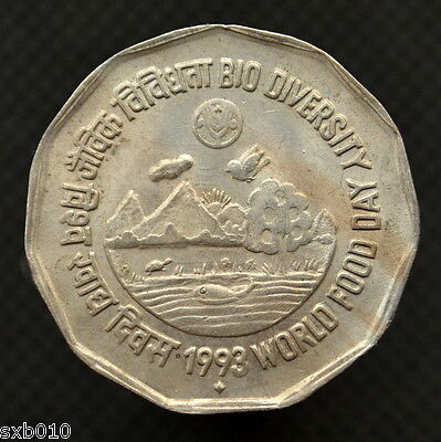 India 2 Rupees 1993 F.A.O. - World Food Day - Bio Diversity.  km125.1