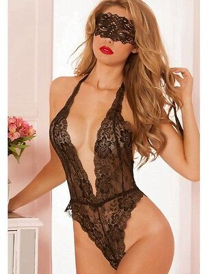 Ladies Black Floral Lace Teddy With Mask Lingerie/Dance Wear Size UK 10-12