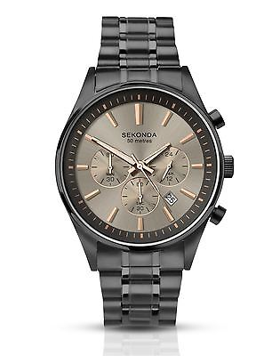 Sekonda Mens Gun Metal Chronograph Watch Stainless Steel Bracelet 1228