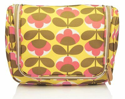 Orla Kiely Hanging Large Wash Bag ORLBG2207A Pink and Yellow