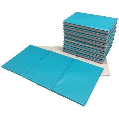 NEW 50x Triple Folding Nursery Sleep Mats Aqua/Stone Grey for Children & Toddler