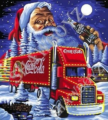 """Christmas Coca Cola Santa Latch Hook CHART ONLY 26"""" x 28.8""""Inches (see below)"""