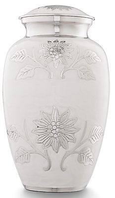 Adult Cremation Ashes Urn, Large Funeral Memorial Remembrance Urn, White Flower