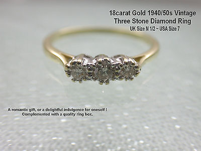 18ct Yellow Gold Trilogy .25ct Diamond Ring UK Pretty 1940s Vintage UK size N1/2