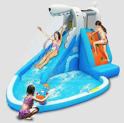 Kids Inflatable Water Slide Polar Bear Kingdom Pool New Summer Fun With Pump