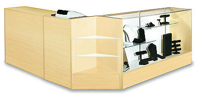 "Checkout Combo POS 70"" Case 70"" Wrap Counter 24"" Cash Stand Maple Knockdown New"