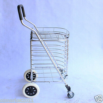 * New Convenient Aluminum Alloy Basket Four Wheels Shopping Luggage Trolleys