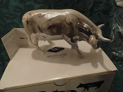"""Cow Parade """"beast Of Light"""" #9187 2001  Silvery Cow Full Of Light!! New, Box!!"""