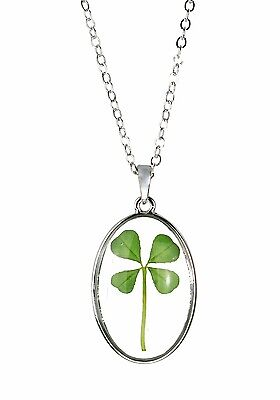 Celtic Lucky Real Four Leaf Clover Glass Oval Pendant Necklace Silver Plated