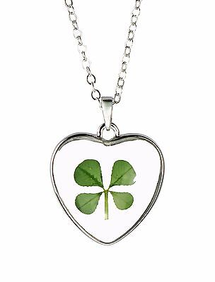 Celtic Lucky Real Four Leaf Clover Glass Heart Pendant Necklace Silver Plated