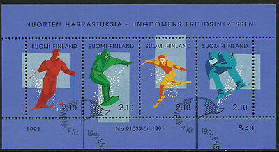 Finland #872 Special Canceled S/Sheet - Skiing