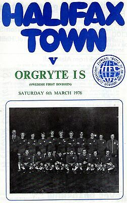 Halifax Town v Orgryte IS 1975/1976