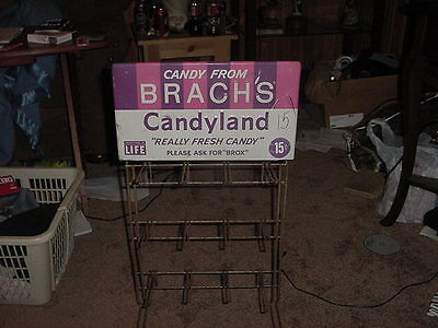 Vintage Tin Brach's Candyland Candy Display Sign 15 Cents Rare Advertisement