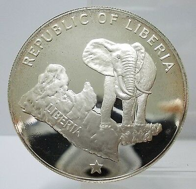 Liberia 1973  Five Dollar Large 90% Silver Proof Coin UNC