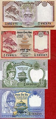 NEPAL 4 pcs banknotes lot with different notes 1-2-5-10 Rupees