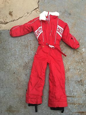 RED SPYDER KIDS YOUTH SKI HOODED ONE PIECE SNOW SUIT SIZE 6 girl