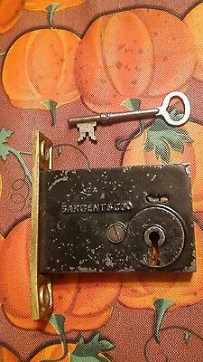 VINTAGE  SARGENT & Co DOOR LOCK INSET MECHANISM with key!