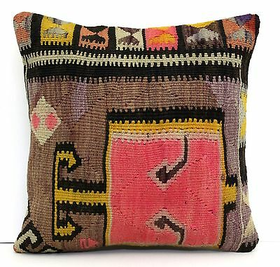 """AUTHENTIC TRIBAL TURKISH HANDWOVEN KILIM RUG DECORATIVE PILLOW COVER 16"""" x 16"""""""