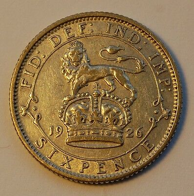 1926 George V Silver Sixpence (VF)