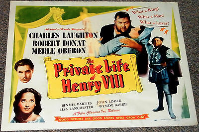 THE PRIVATE LIFE OF HENRY THE VIII 1943R ORIGINAL 22x28 STYLE B MOVIE POSTER!