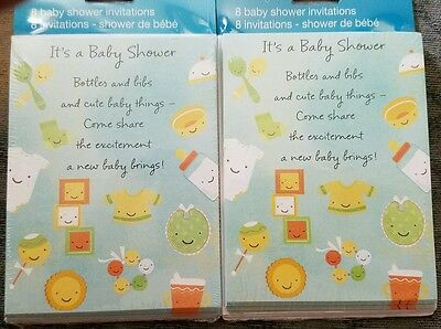 2 packs of Tender Thoughts Boy or Girl Baby shower invitations Toys Bib NIP