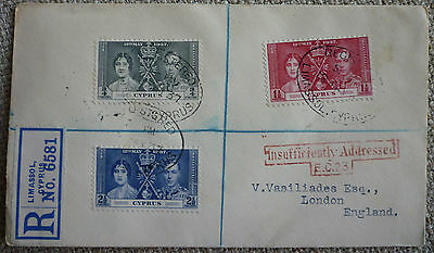 """CYPRUS 1937 KGV CORONATION ISSUE FDC with """"INSUFFICIENTLY ADDRESSED"""" MARKING"""
