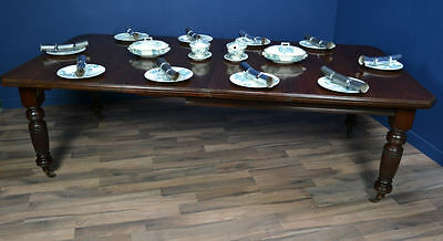 Antique / Victorian Mahogany Extending Dining Table Circa 1860 / Seats 8 To 10