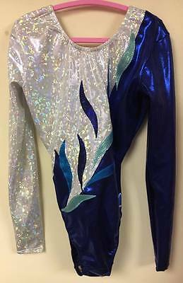 """New Milano Long sleeved Blue Gymnastic leotard - 36"""" age 15+ Years"""