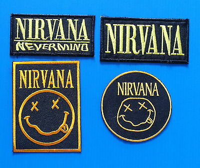 4 LOT NIRVANA  Iron Embroidered Sewn On Iron On  Patches Free Ship