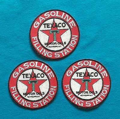 3 LOT TEXACO GAS/OIL Embrodered Iron Or Sewn On Patches Free Ship