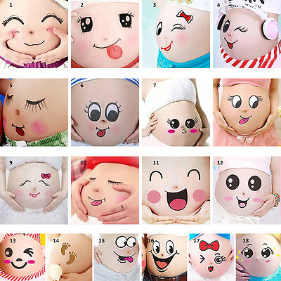 3*Lovely Pregnant Women Belly Painting Sticker Maternity Cute Photo Props Tattoo
