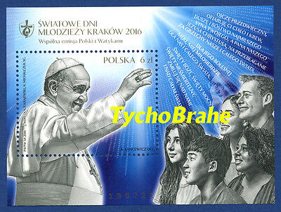 BLOCK Stamps WORLD YOUTH DAY KRAKOW 2016 POLAND MNH JOINT WYD BLOCCO POLONIA GMG