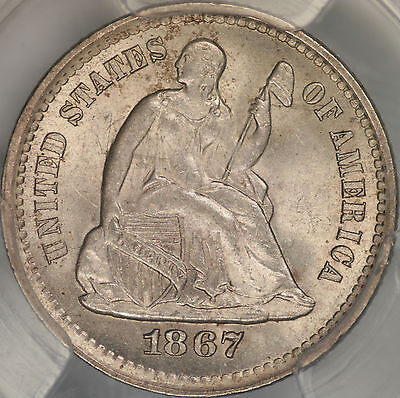 1867-S Seated Liberty Half Dime PCGS MS64+
