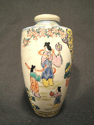 Beautiful Antique Signed Chinese Japanese Polychrome Enameled Pottery Vase