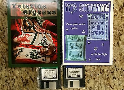 TWO** Christmas Afghans by Charlene Shafer with Disks IBM Format Free Shipping