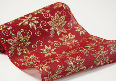 Red/Gold Xmas Wrapping Fabric Roll Table Runner 36cm x 5y Christmas Dinner Decor