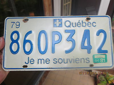 SUPERB 1979 QUEBEC LICENSE PLATE with the 1981 tag 860P342