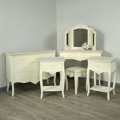 Cream Wooden Bedroom Set Dressing Table Mirror Stool Bedsides Shabby French Chic