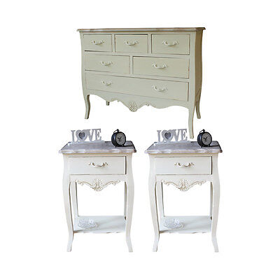 cream country cottage bedroom home furniture set shabby vintage chic chest table